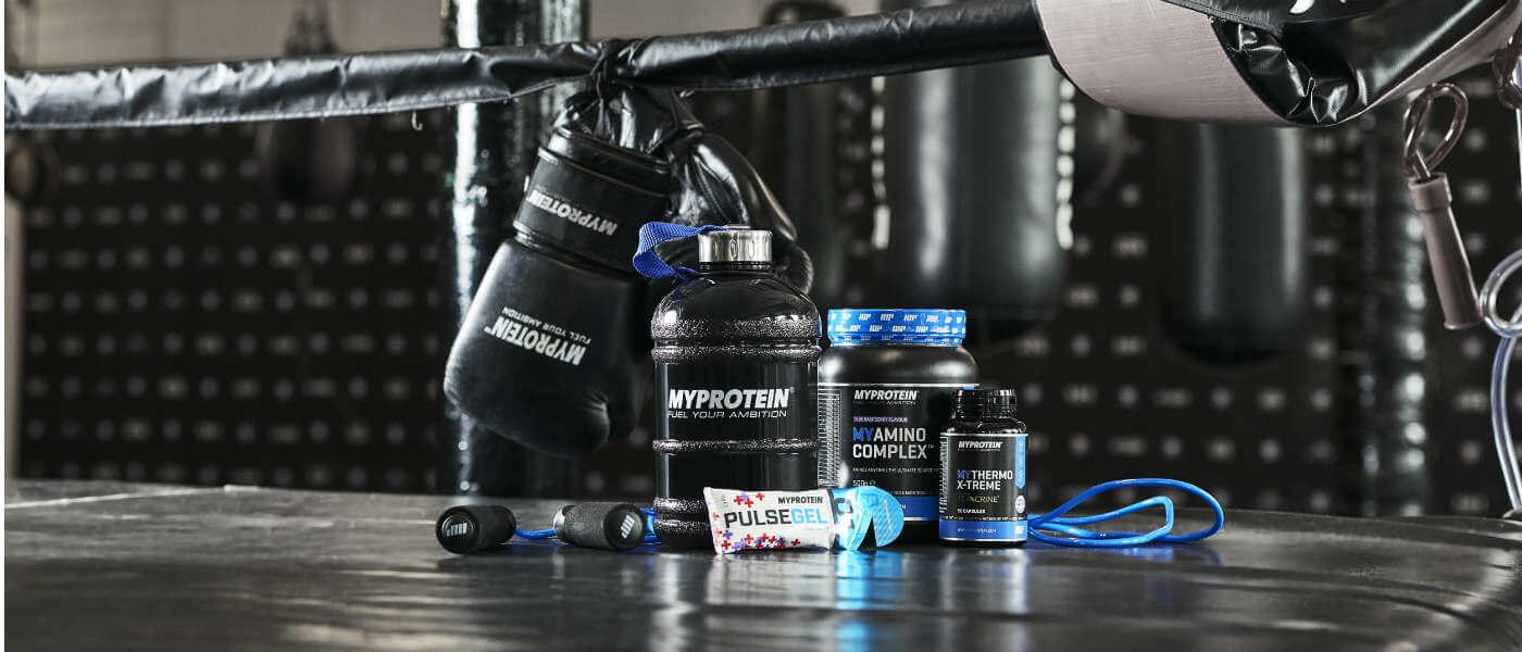 Myprotein produkty ideální pro box a bojové sporty incuding preworkout směsi a proteinové nápoje
