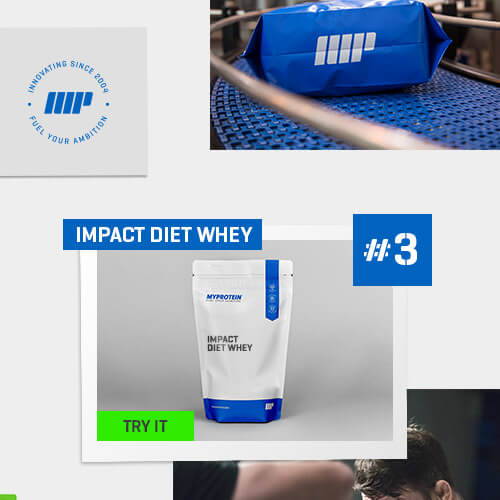 number 3 logo next to impact diet whey packet