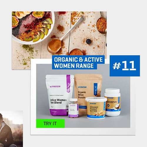 number 11 image is a range of organic and active women products such as diet blend, organic whey protein, organic peanut butter