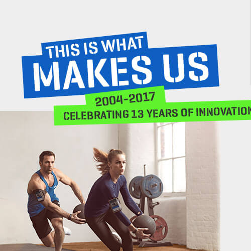 This is what makes us Myprotein. Date of company from 2004-2017 and image of male and female working out