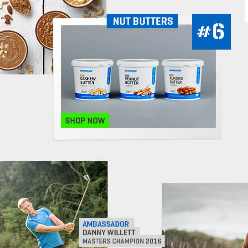 image in the centre of cashew butter, peanut butter and almond butter. Top left corner is a lifestyle of nut butters