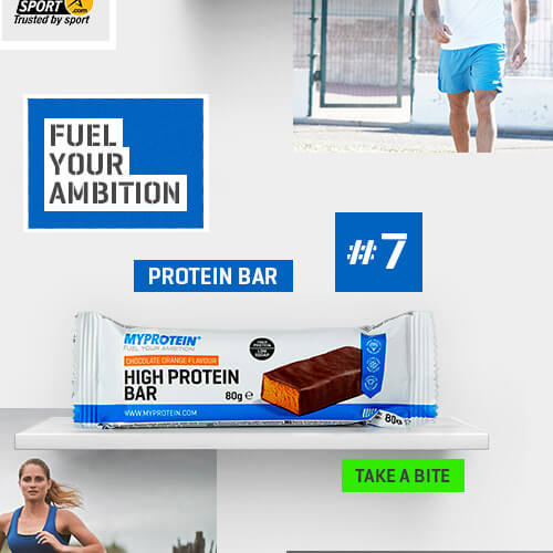 high protein bar in the centre next to number 7. Image of Danny Willett at the bottom