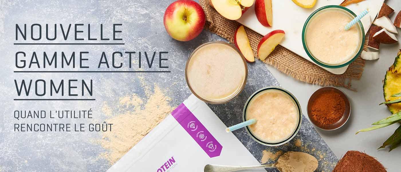nouvelle gamme active women avec sachet myprotein et fruits