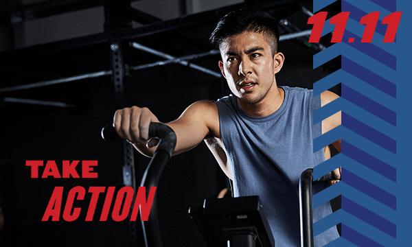 Text: Take Action, Image of Man Exercising