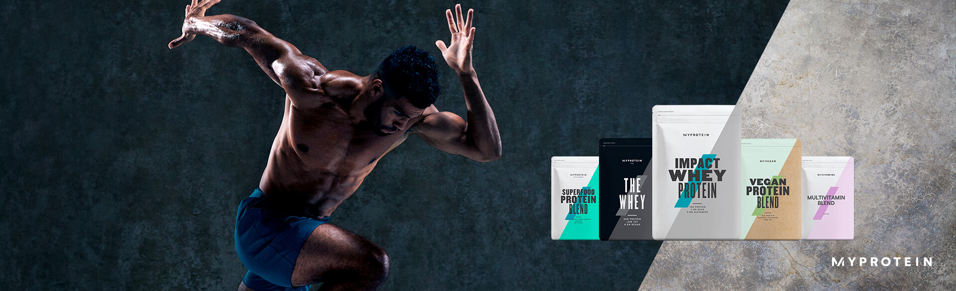 protein shakes and powders landing page banner