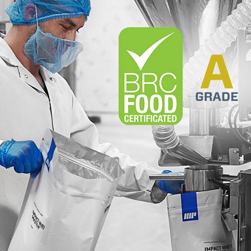 BRC AA kwaliteit hoogwaardig materiaal dat wordt gebruikt in myprotein producten