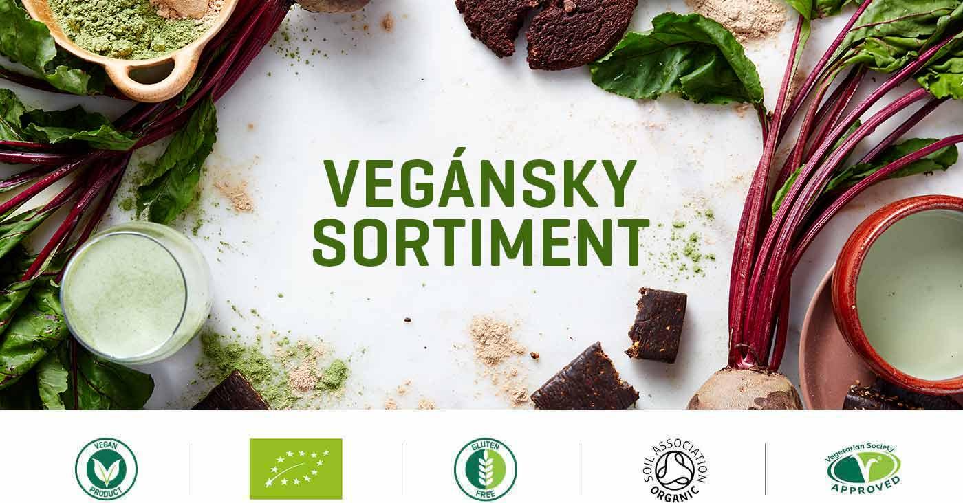 vegánske doplnky stravy obsahujúce vegánsky proteín a vegánske potraviny