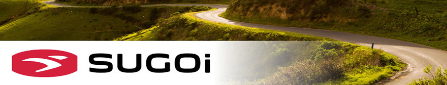sugoi logo across a background of a road cyclist riding a winding road in the mountains