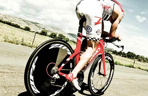 Time Trial cyclist riding Zipp wheels
