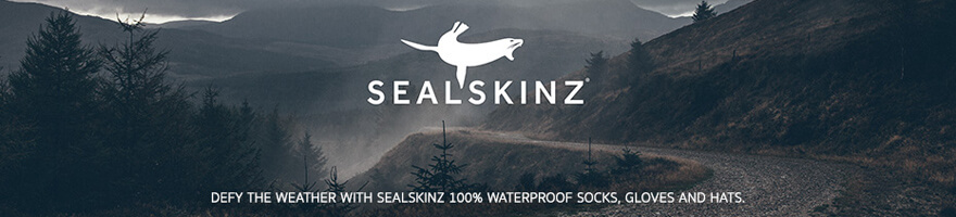 sealskinz logo on the left of an image of a foot wearing sealskinz rested in water up to the ankle