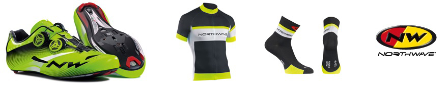from left to right, the image shows: northwave cycling shoes, northwave jersey, norhtwave socks and the northwave logo