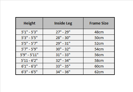 Bike frame size table