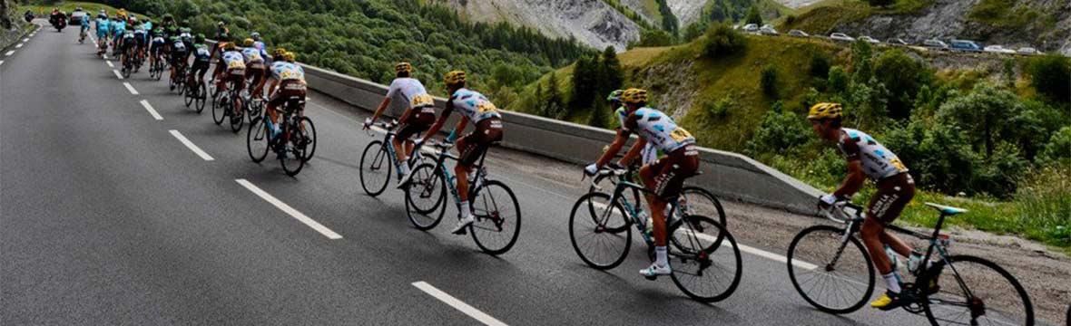Peloton of road cyclists