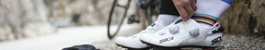 white sidi cycling shoes