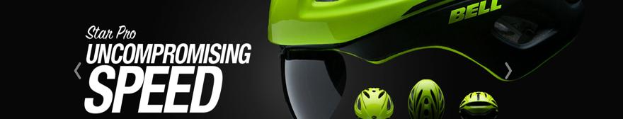 a green Bell helmet