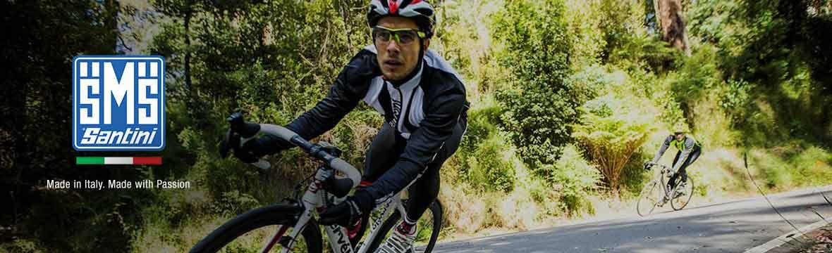 Cyclist wearing Santini clothing