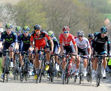Front view of cycling peloton