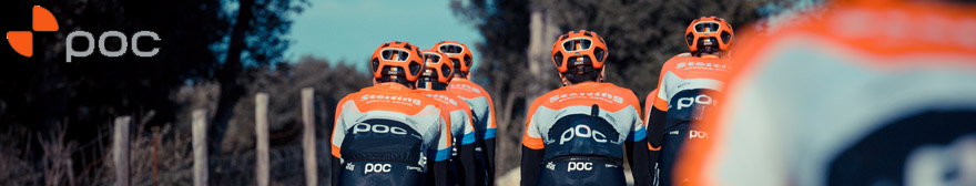 a peloton of cyclists wearing POC kit