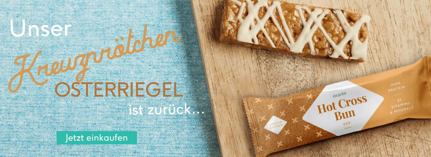 Neuer Exante Riegel Launch - Kreuzbrötchen Osterriegel