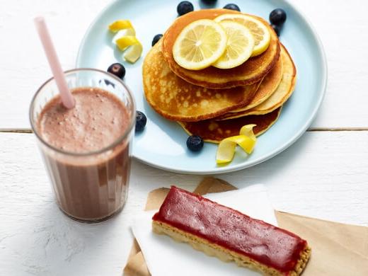 Exante Schoko Shake, Zitrone Pfannkuchen und Erdbeermarmelade & Joghurt Riegel