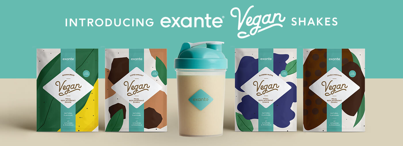 sachets of vegan meal replacement shakes