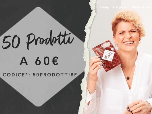Scegli 50 tra barrette, frullati, snack, pasti e altro ancora per soli 60€! Con il codice* <b>50PRODOTTIBF</b>