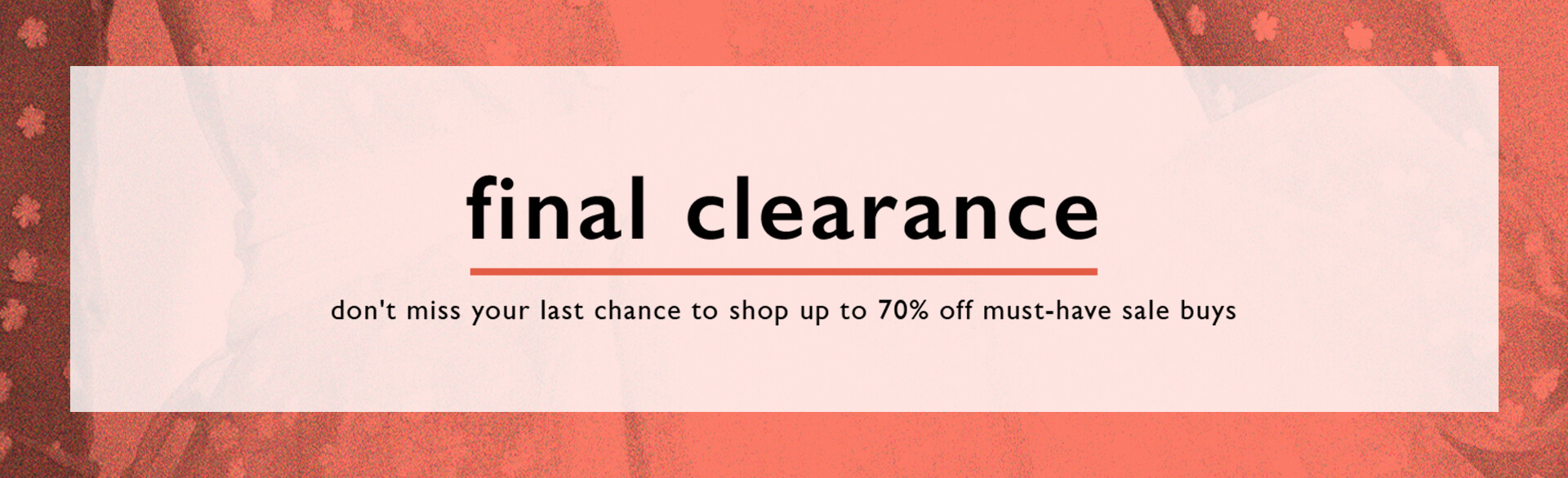 Final Clearance | Up to 70% Off