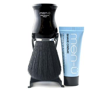 Men-ü barberingsbørste og barberingscreme