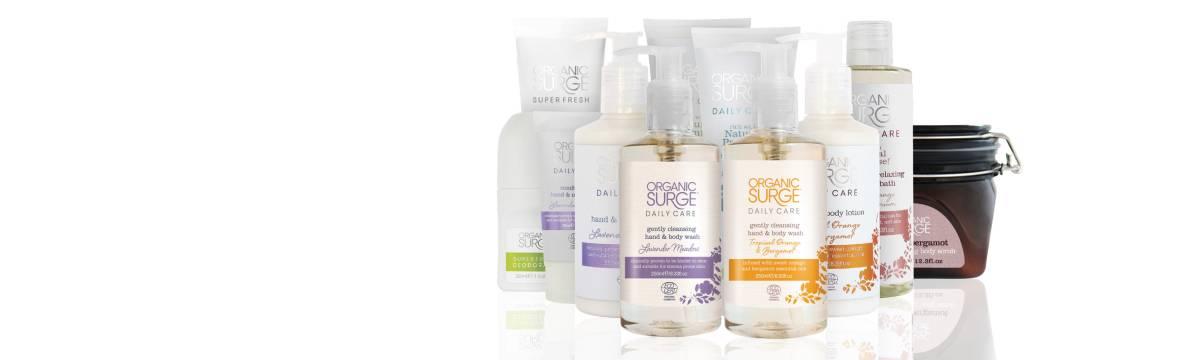 Organic Surge hårpleje- og hudplejeprodukter