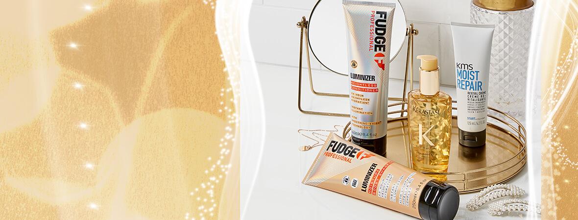 luminizer shampoo e balsamo di fudge professional, kerastase olio per capelli e kms moist repair