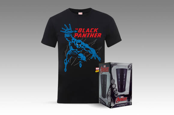 MARVEL COMICS BLACK PANTHER T-SHIRT + EXKLUSIVES SCHWARZES GLAS = 17,99€