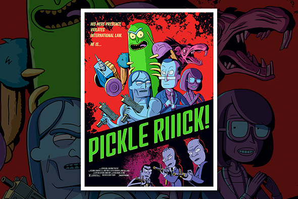 RICK & MORTY - PICKLE RIIICK <br>LITHOGRAPH PRINT