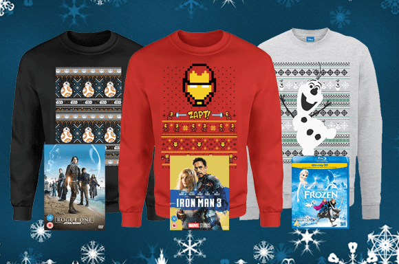 BLOCKBUSTER MOVIE & CHRISTMAS JUMPER FROM ONLY £24.99