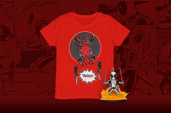 DEADPOOL Q-FIG AND T-SHIRT - ONLY £8.99