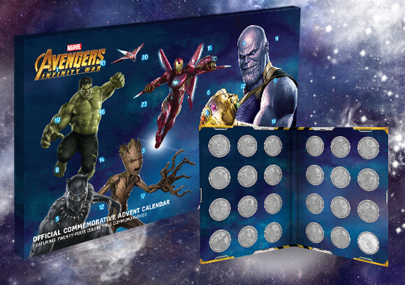 CALENDRIER DE L'AVENT PIÈCES DE COLLECTION MARVEL AVENGERS: INFINITY WAR