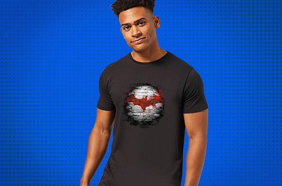 Man in Batman t-shirt