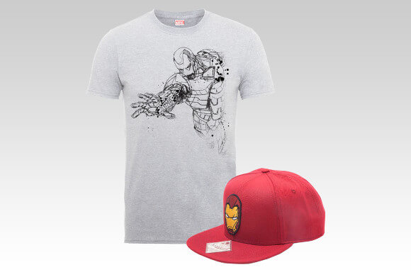 Iron Man t-shirt & snapback voor €17,55