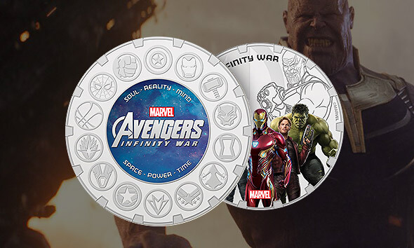 MARVEL AVENGERS: INFINITY WAR SILVER COMMEMORATIVE COIN