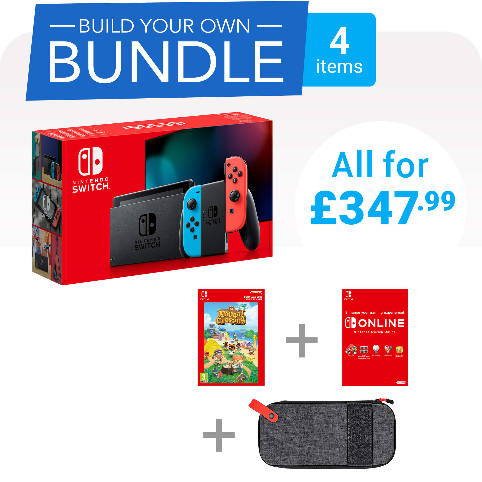 Build Your Own Nintendo Switch Bundle - 4 items - £347.99