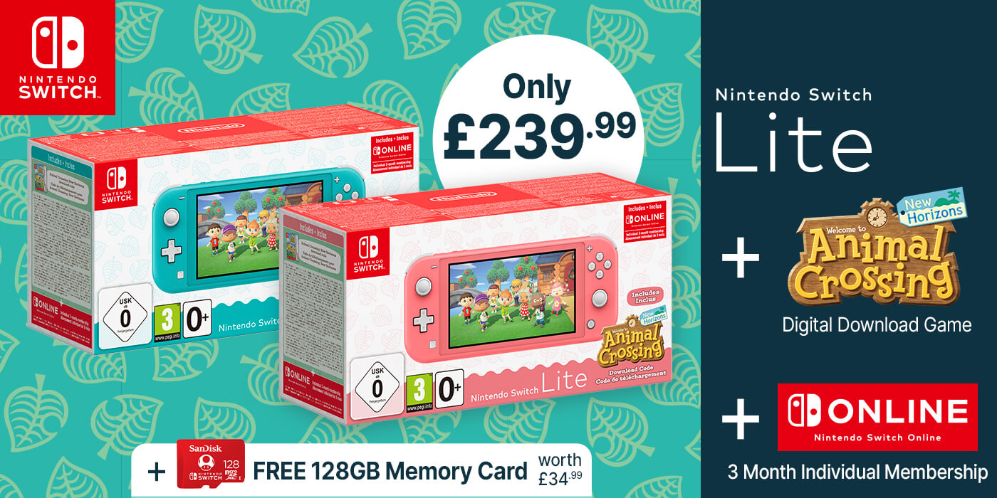 Nintendo Switch Lite + Animal Crossing: New Horizons + Nintendo Switch Online (3 Months) + 128GB SD Card