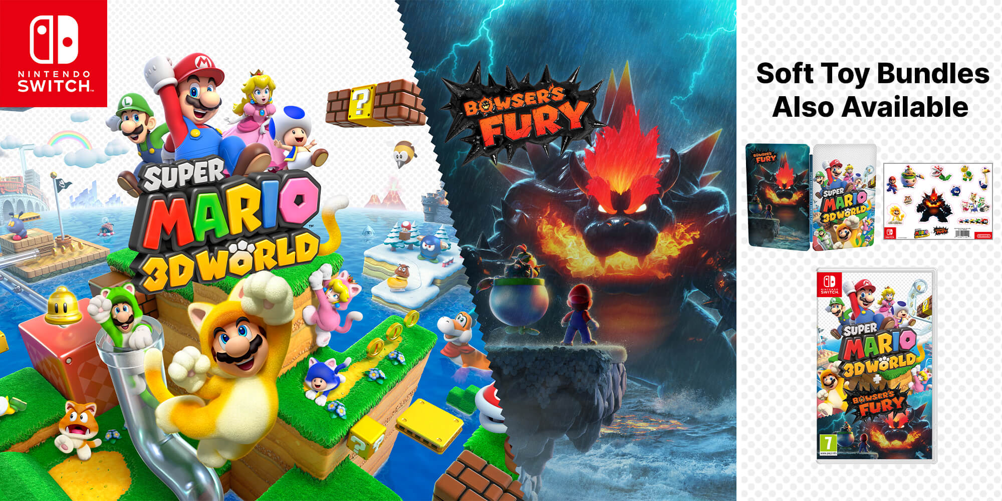 Nintendo Switch Mario Red & Blue Edition, Super Mario 3D World + Bowser's Fury