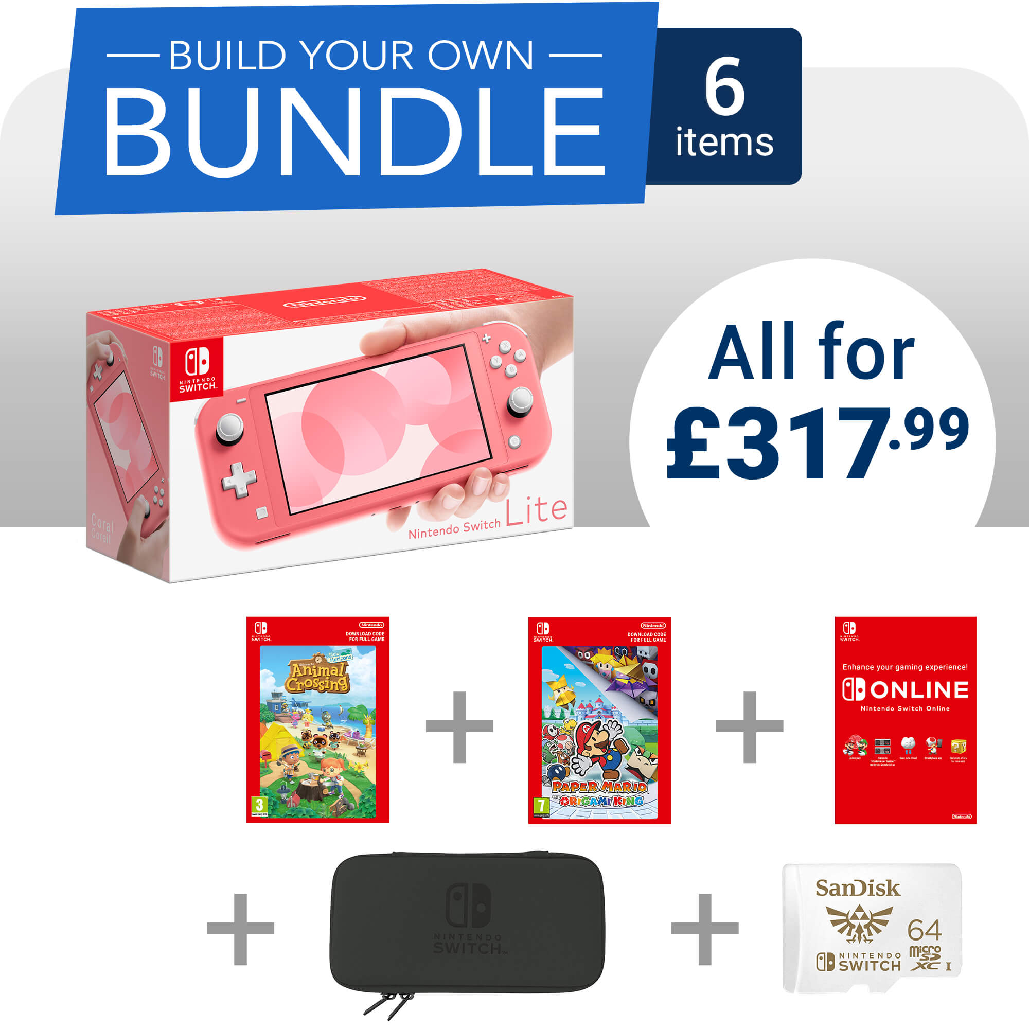 Build your own Nintendo Switch Lite bundle for only £317.99