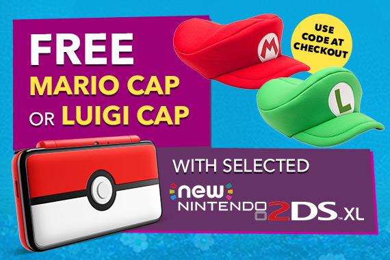 <b>Free Mario or Luigi Cap when purchasing a New Nintendo 2DS XL (excluding Bundles)</b>